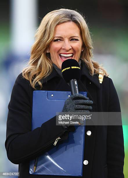 Presenter Gabby Logan looks on prior to the RBS Six Nations match between Ireland and France at Aviva Stadium on February 14 2015 in Dublin Ireland