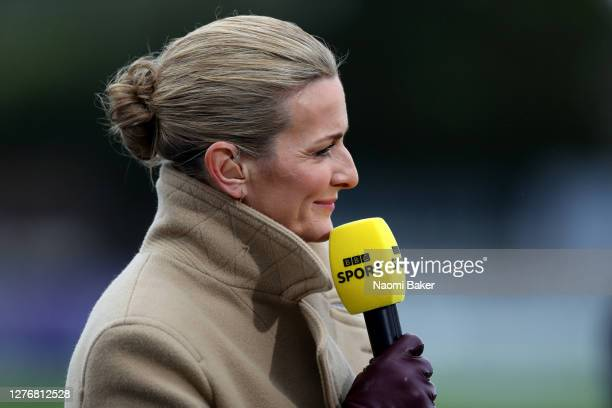 Presenter Gabby Logan speaks to TV prior to the Vitality Women's FA Cup Quarter Final between Arsenal FC and Tottenham Hotspur FC at Meadow Park on...