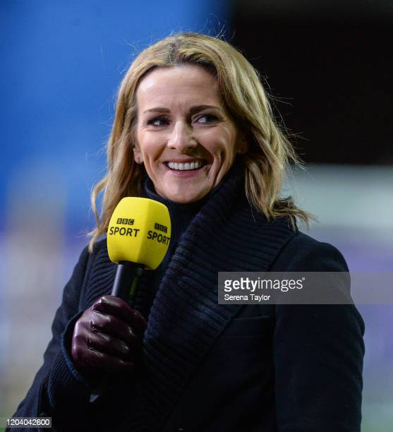 Presenter Gaby Logan during the FA Cup Fourth Round Replay match between Oxford United and Newcastle United at Kassam Stadium on February 04, 2020 in...