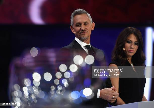 Presenter Gary Lineker and presenter Maria Komandnaya looks on during the Final Draw for the 2018 FIFA World Cup Russia at the State Kremlin Palace...