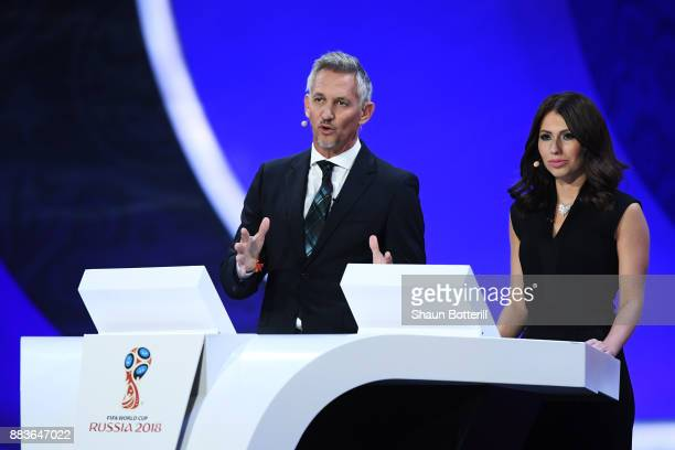 Presenter Gary Lineker and presenter Maria Komandnaya speaks during the Final Draw for the 2018 FIFA World Cup Russia at the State Kremlin Palace on...