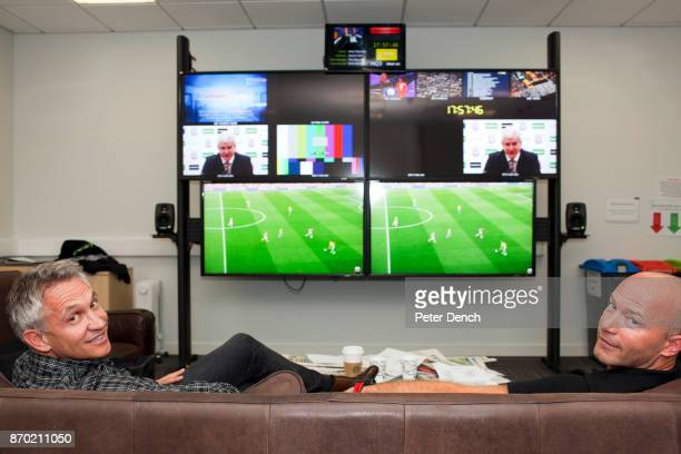 Presenter Gary Lineker and pundit Alan Shearer watching Saturday premiership football on screens at the BBC. Match of the Day is the BBC's main...