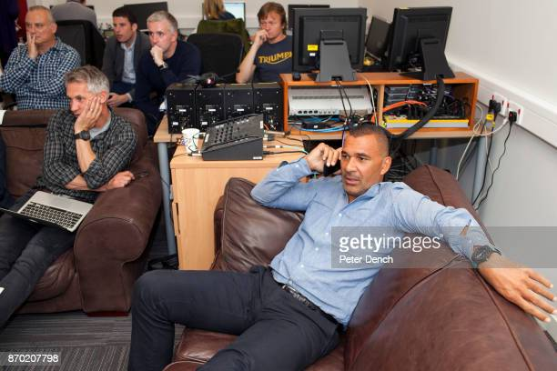 MOTD presenter Gary Lineker and pundit Ruud Gullit watch the Saturday football premiership matches being screened live at the BBC Match of the Day is...