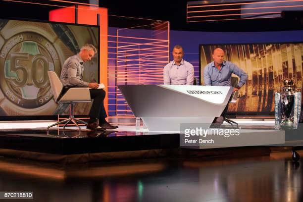 "Presenter Gary Lineker with pundits Ruud Gullit and Alan Shearer in the live studio.""n""nMatch of the Day is the BBC's main football television..."