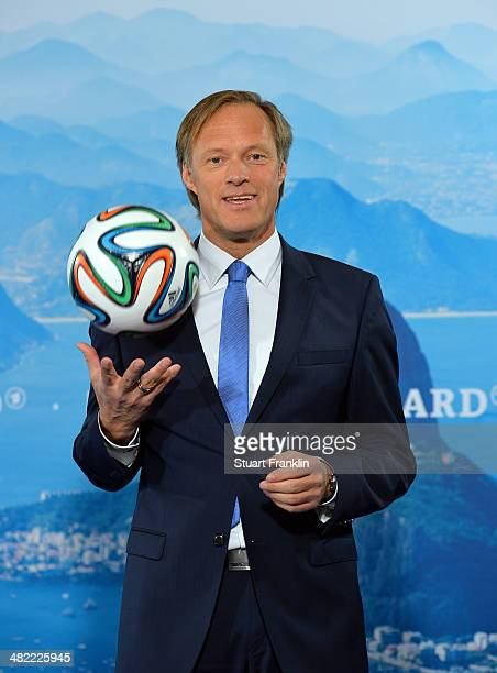 ARD presenter Gerhard Delling is pictured during the ARD/ZDF FIFA World Cup 2014 team presentation event on April 3 2014 in Hamburg Germany