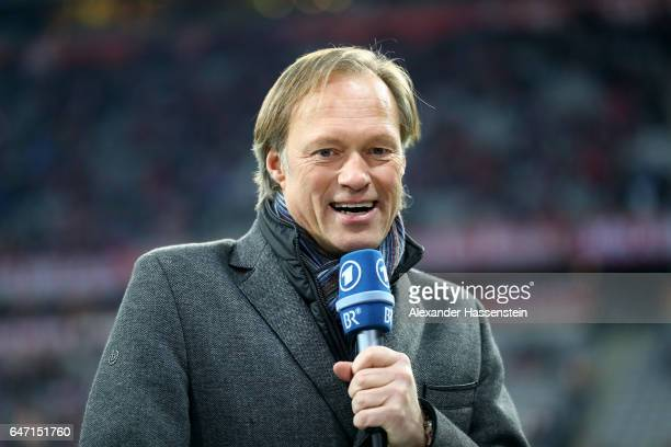 TV presenter Gerhard Delling looks on prior to the DFB Cup quarter final between Bayern Muenchen and FC Schalke 04 at Allianz Arena on March 1 2017...