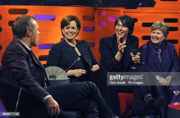 Presenter Graham Norton with his guests, actress Sigourney Weaver, Professor Brian Cox and comedienne Sandi Toksvig, during the recording of The...