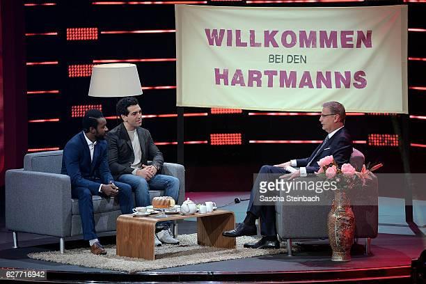 Presenter Guenther Jauch talks to Eric Kabongo and Elyas M'Barek attends the television show 2016 Menschen Bilder Emotionen RTL Jahresrueckblick on...