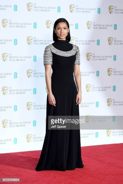 Presenter Gugu MbathaRaw poses in the press room during the EE British Academy Film Awards held at Royal Albert Hall on February 18 2018 in London...