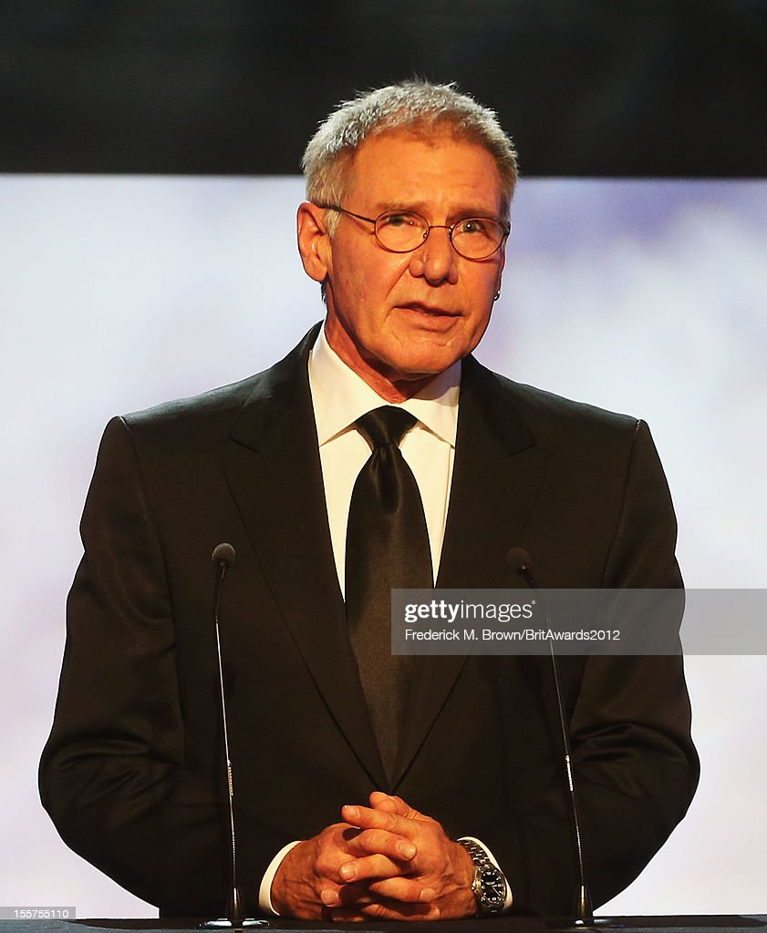 Presenter Harrison Ford speaks onstage at the 2012 BAFTA Los Angeles Britannia Awards Presented By BBC AMERICA at The Beverly Hilton Hotel on November 7, 2012 in Beverly Hills, California.