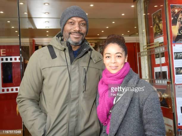 "Presenter Harry Roselmack and singer Aurélie Konaté attend the ""Lavande"" screening at Mac Mahon Cinema on January 04, 2020 in Paris, France."