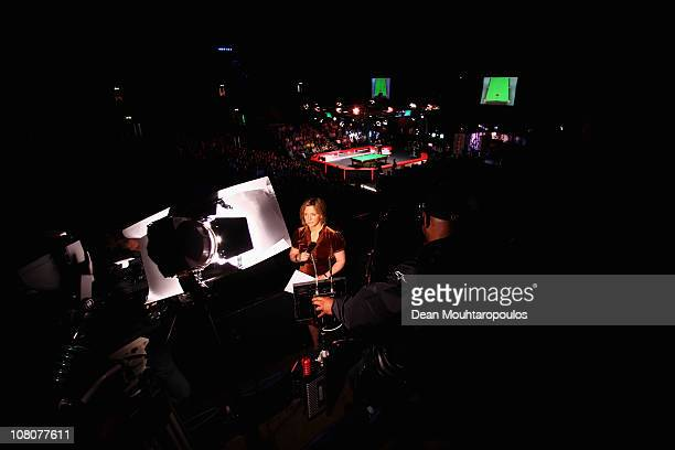 Presenter Hazel Irvine gets ready to introduce Marco Fu of Hong Kong and Ding Junhui of China in the Final of The Ladbrokesmobile Masters on Day 8 at...