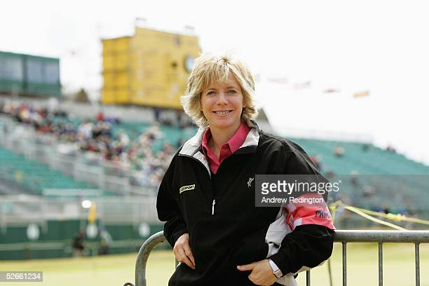 Presenter Hazel Irvine poses during the final round of the 133rd Open Championship at the Royal Troon Golf Club on July 18 2004 in Troon Scotland