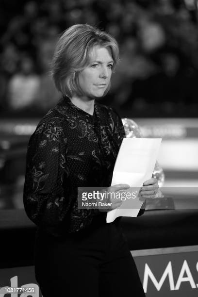 BBC Presenter Hazel Irvine prepares to speak to camera ahead of the first round match between Luca Brecel and Mark Allen during day one of The...