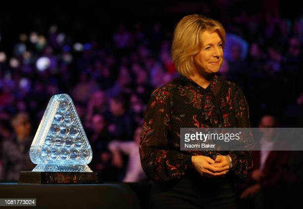 Presenter Hazel Irvine prepares to speak to camera ahead of the first round match between Luca Brecel and Mark Allen during day one of The Dafabet...