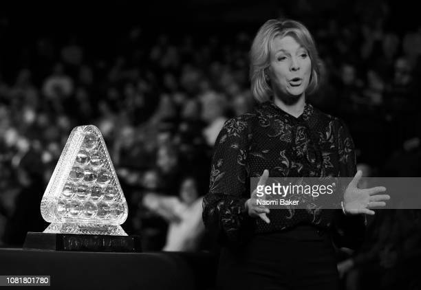 BBC Presenter Hazel Irvine speaks to the camera ahead of the first round match between Luca Brecel and Mark Allen during day one of The Dafabet...