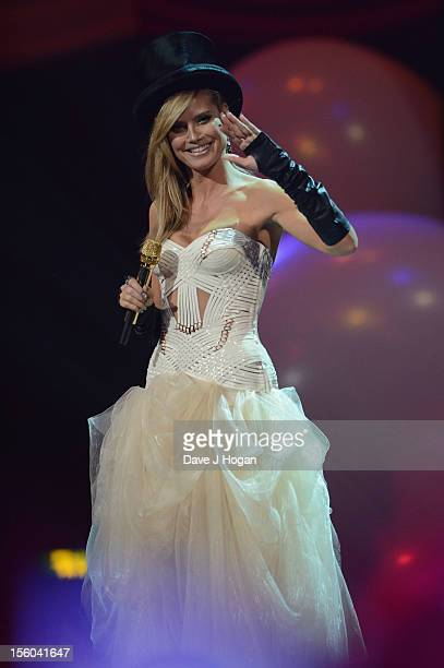 Presenter Heidi Klum onstage during the MTV EMA's 2012 at Festhalle Frankfurt on November 11 2012 in Frankfurt am Main Germany