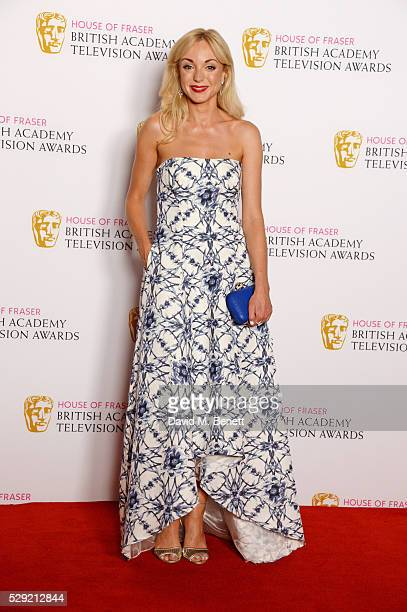 Presenter Helen George poses in the winners room at the House Of Fraser British Academy Television Awards 2016 at the Royal Festival Hall on May 8...