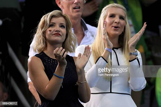 BBC presenter Helen Skelton and former English competitive swimmer Rebecca Adlington watch the action on Day 8 of the Rio 2016 Olympic Games at the...