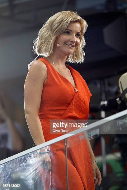 BBC presenter Helen Skelton is seen ahead of the evening swim session on Day 2 of the Rio 2016 Olympic Games at the Olympic Aquatics Stadium on...