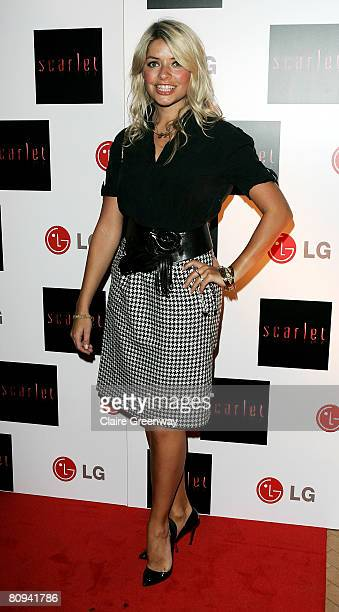 TV presenter Holly Willoughby arrives at the launch party for Scarlet TV a new series of flat panel LCD televisons from LG electronics at One...