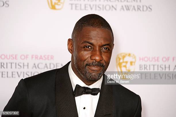 Presenter Idris Elba poses in the winners room at the House Of Fraser British Academy Television Awards 2016 at the Royal Festival Hall on May 8 2016...