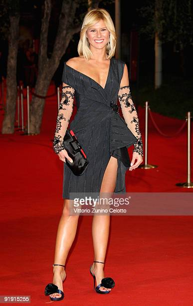 Presenter Ingrid Muccitelli attends the 'Triage' premiere during Day 1 of the 4th International Rome Film Festival held at the Auditorium Parco della...
