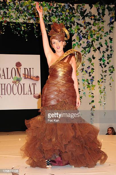 TV presenter Isabelle Bres dressed by Frederic Bau and Martial Tapolo attends the Salon Du Chocolat 2010 Opening Night at the Parc des Expositions...