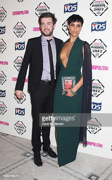 Presenter Jack Whitehall and Ultimate Newcomer winner Zawe Ashton pose in the press room at the Cosmopolitan Ultimate Woman of the Year awards at the...