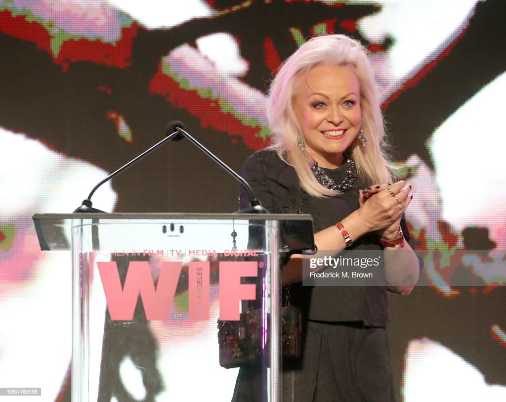 Presenter Jacki Weaver, wearing Max Mara, speaks onstage at the Women In Film 2017 Crystal + Lucy Awards presented By Max Mara and BMW at The Beverly Hilton Hotel on June 13, 2017 in Beverly Hills, California.