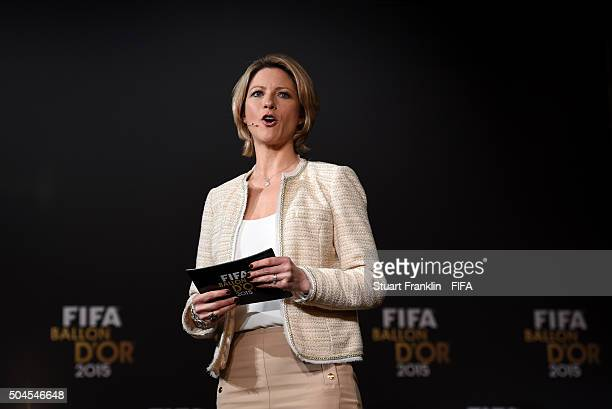 Presenter Jacqui Oatley during the FIFA Womens World Player of the Year 2015 press conference prior to the FIFA Ballon d'Or Gala 2015 at the...