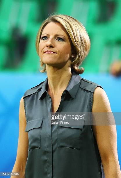 ITV presenter Jacqui Oatley is seen prior to the UEFA EURO 2016 Group B match between Slovakia and England at Stade GeoffroyGuichard on June 20 2016...
