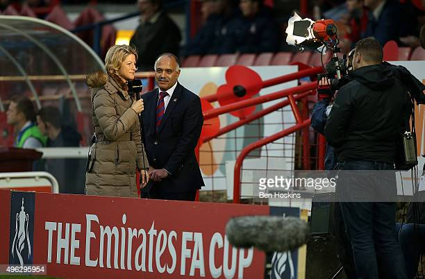 BBC presenter Jacqui Oatley presents during The Emirates FA Cup First Round match between Aldershot Town and Bradford City on November 8 2015 in...