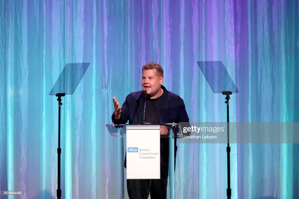 Presenter James Corden speaks onstage at the UCLA Jonsson Cancer Center Foundation Hosts 22nd Annual 'Taste for a Cure' event honoring Yael and Scooter Braun at the Regent Beverly Wilshire Hotel on April 28, 2017 in Beverly Hills, California.