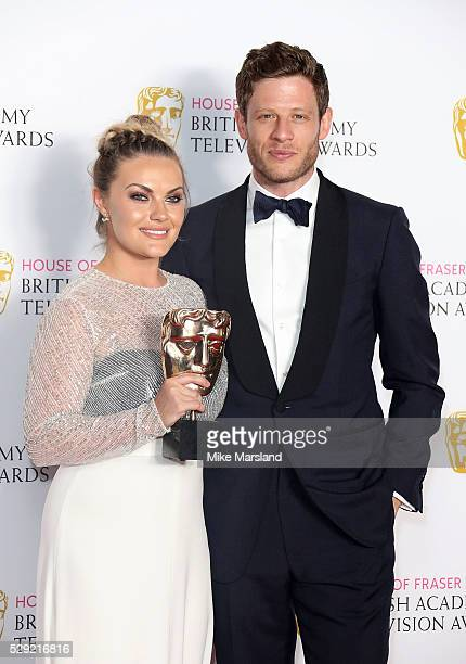 Presenter James Norton and winner Chanel Cresswell with the Best Supporting Actress Award in the winners room at the House Of Fraser British Academy...
