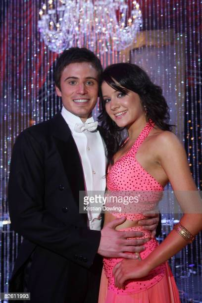 TV presenter James Tobin and professional dance partner Jade Hatcher pose together after the first show of season eight of Channel Seven's 'Dancing...