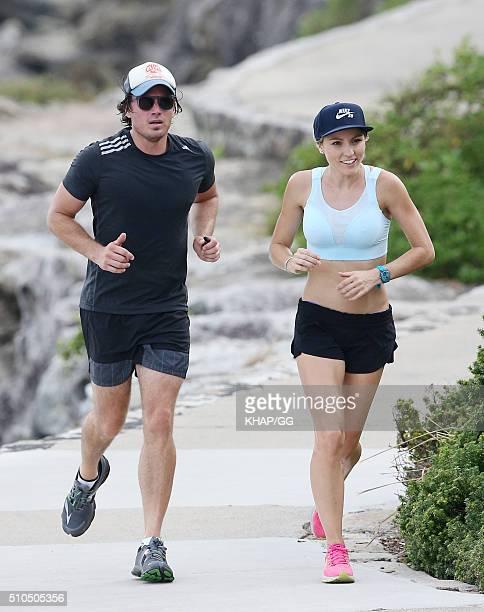 TV presenter James Tobin enjoys a run with a running partner on February 15 2016 in Sydney Australia