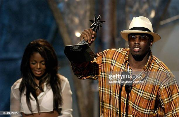 Presenter Janet Jackson with Sean P Diddy Combs winner for Best Video of the Year
