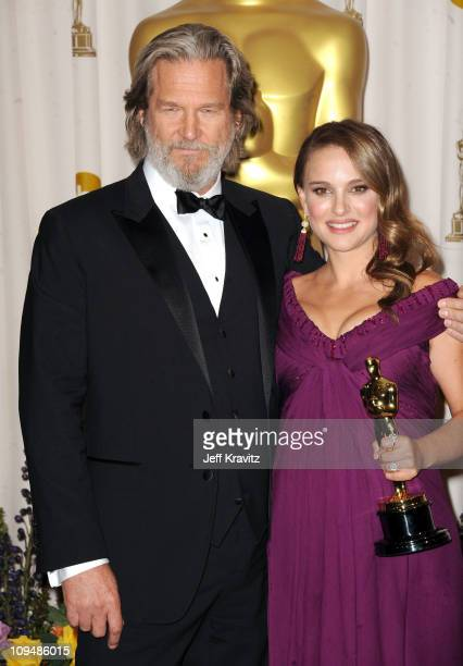 Presenter Jeff Bridges and Actor Natalie Portman pose in the press room during the 83rd Annual Academy Awards held at the Kodak Theatre on February...