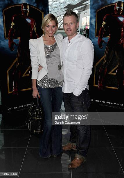 TV presenter Jenni Falconer with her husband James Midgley attend the 'Iron Man 2' VIP screening at the Vue cinema Westfield on April 26 2010 in...