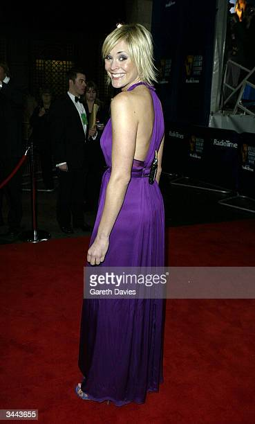 Presenter Jenny Falconer arrives for The British Academy Television Awards at the Grosvenor House Hotel April 18 2004 in London England