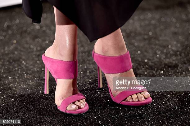 Presenter Jenny Slate shoe detail attends the 32nd Film Independent Spirit Awards Nominations Press Conference at W Hollywood on November 22 2016 in...