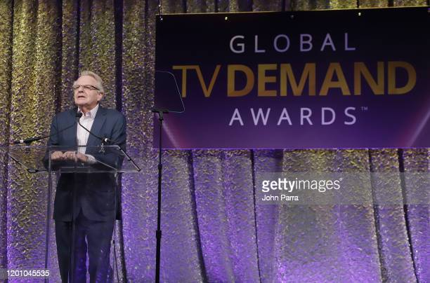 Presenter Jerry Springer on stage at the 2nd Annual Global TV Demand Awards at Fontainebleau Hotel on January 21 2020 in Miami Beach Florida