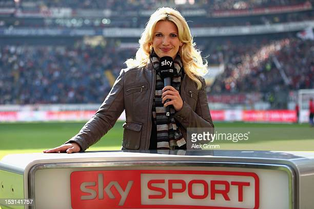 TV presenter Jessica Kastrop of Sky Sport poses prior to the Bundesliga match between Eintracht Frankfurt and SC Freiburg at CommerzbankArena on...