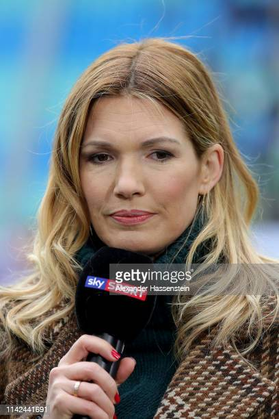Presenter Jessica Libbertz prior to the Bundesliga match between RB Leipzig and VfL Wolfsburg at Red Bull Arena on April 13, 2019 in Leipzig, Germany.