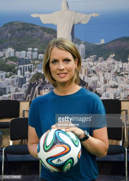 Presenter Jessy Wellmer poses in the ZDF Moma World Cup Cafe in Berlin, Germany, 12 June 2014. The ZDF morning show presented their team for the FIFA...