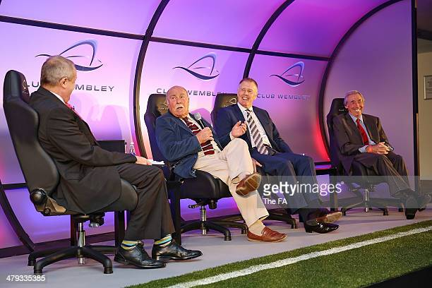 Presenter Jim Rosenthal talks with England World Cup winners Jimmy Greaves, Sir Geoff Hurst and Gordon Banks take part in a Club Wembley business...