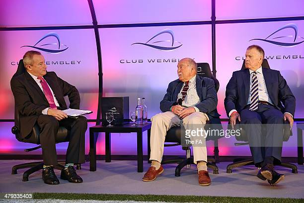 Presenter Jim Rosenthal talks with England World Cup winners Jimmy Greaves and Sir Geoff Hurst take part in a Club Wembley business breakfast event...