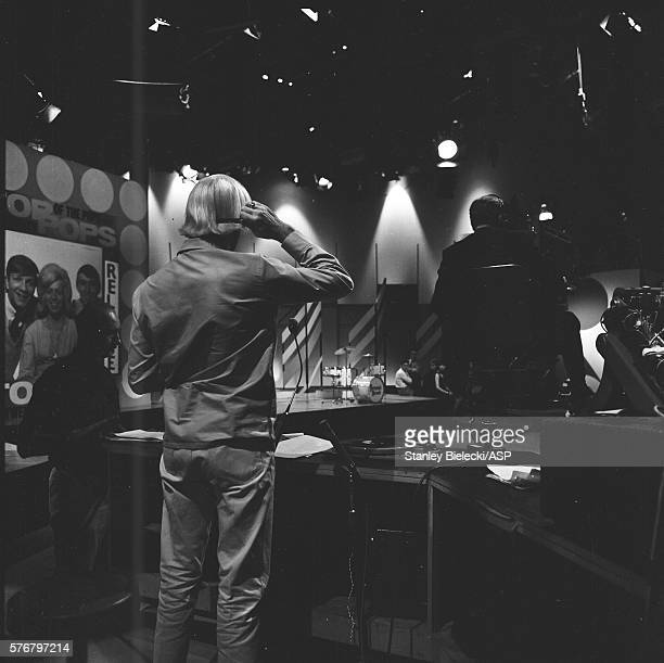 Presenter Jimmy Savile on the set of Top of the Pops TV show London 1965