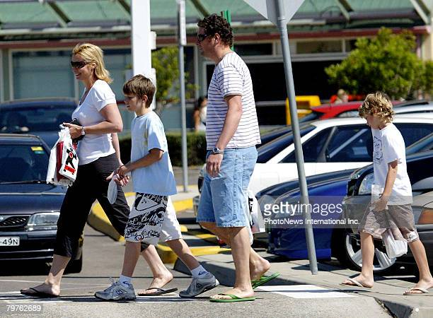 Presenter Johanna Griggs is seen with her new husband Todd Huggins and her two boys Jesse James and Joe Buster at Brookvale Mall on September 30 2006...